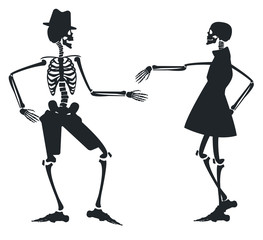 Vector image with two silhouette of skeleton