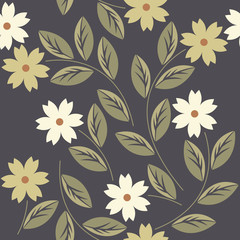 Elegant endless pattern with white and yellow flowers