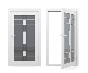 Open and closed glass doors isolated on white background. 3d rendering.