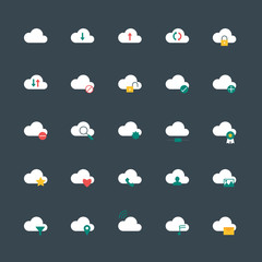 vector cloud computing icons flat style