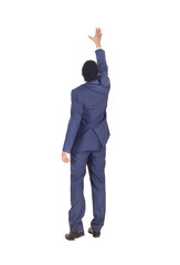 Businessman reaching for something, blank background, concept