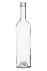 Isolated transparent bottle for white vine
