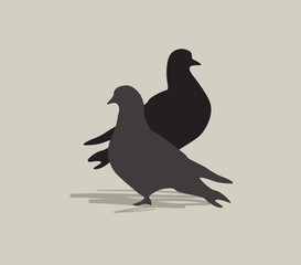 Two doves. Dove silhouette. Peace symbol.