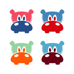 Hippopotamus Head Color Logo Design