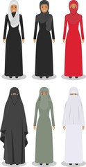 Set of different standing arab women in the traditional muslim arabic clothing isolated on white background in flat style. Arab traditional muslim, arabic clothing, east arabian dress. Vector