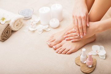 Photo sur Plexiglas Pedicure French manicure and pedicure
