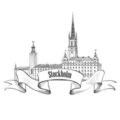 Stockholm Landmark label isolated. Travel Sweden symbol. Stockholm City Skyline