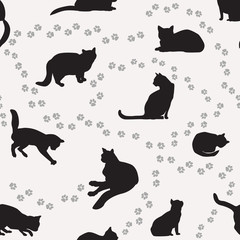 Cat seamless pattern. Cute cartoon kitties Pets vector background.