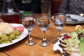 Three glasses of vodka