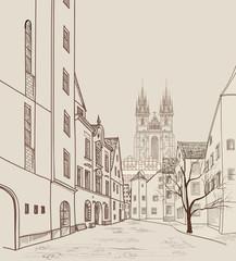 Old Town of Prague, Czech Republic. Historic city street. Travel Prague background.