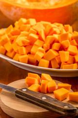 Ripe pumpkin pieces