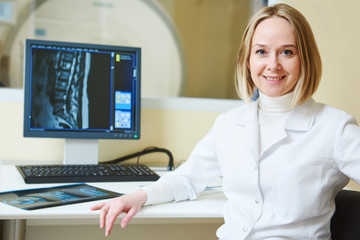 female tomography or MRI tesr doctor portrait