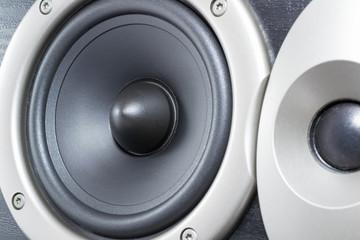 black acoustic speaker closeup