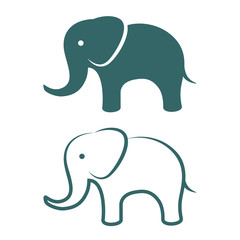 elephant icons and symbols. Vector illustration