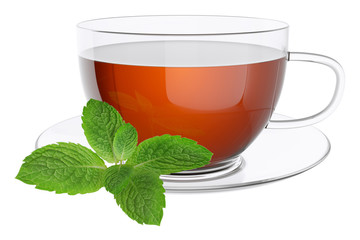 Cup tea and leaves of mint.