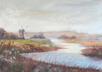 Watercolor painting landscape.River and old windmill.Watercolor hand drawn illustration.