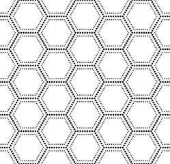 Vector seamless texture. Modern abstract background. Monochrome geometrical pattern with hexagons.