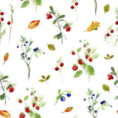 Berry seamless pattern.Wild berry and leaves.Watercolor hand drawn illustration.White background.Blueberries,cranberry,strawberries.