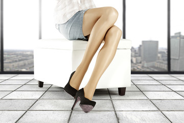 woman legs and window and heels