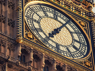 Extreme close up of Big Ben clock tower in London on a dark cloudy day
