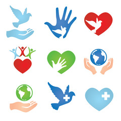 Family Community and Dove Peace Donation and Charity Icons