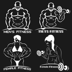 women's and men's fitness logo. the women's club emblem.