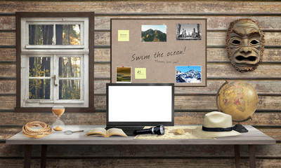 Adventurer office desk with laptop. Isolated, white screen for mockup. Mask, globe, rope, hourglass, hat, book on desk and wooden wall