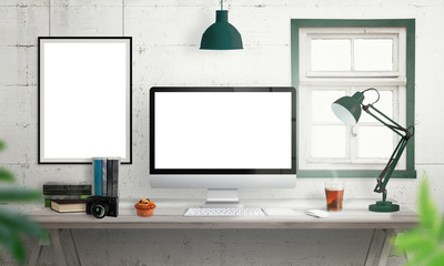Computer display on office desk. Isolated, white screen for mockup. Creative modern desk with books, camera, keyboard, mouse, muffin, lamp, tea. Isolated picture, poster frame on wall
