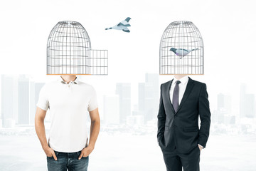 Men with cage heads