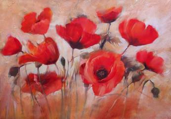 Obraz poppies handmade painting - fototapety do salonu