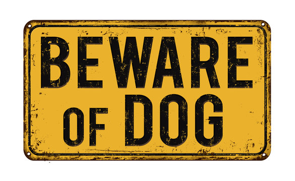 Beware of dog on yellow vintage rusty metal sign on a white background, vector illustration