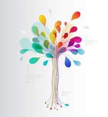 Colorful tree created from lines and leafs.