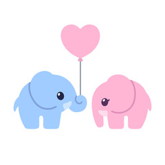 Cute cartoon elephant couple
