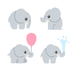 Cute cartoon baby elephant