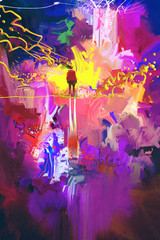 man standing in abstract colorful place,illustration painting