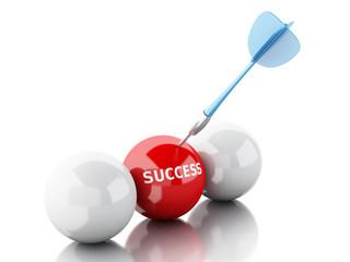 3d arrow in target. Concept of success