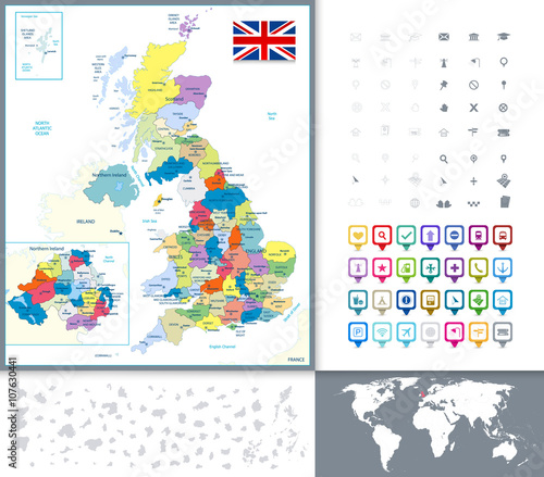 Political Map Of Great Britain.Great Britain Political Map And Map Pointers Stock Image And