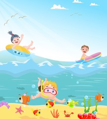 funny kids swimming theme
