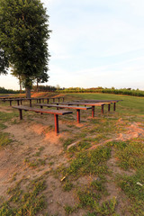 benches in the park, sunset