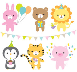 Vector illustration of animals including rabbit, bear, lion, penguin, tiger, and pig at party.
