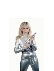 Woman wearing silver space suit