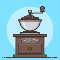 Wooden coffee grinder. Flat design vector illustration.