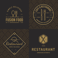 Set of badges, banner, labels and logos for food restaurant, foods shop and catering with seamless pattern. Vector illustration.