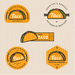 Set of taco logo, badges, banners, emblem for restaurant. Vector illustration.