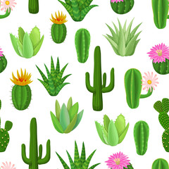 Cactus and succulent seamless pattern.