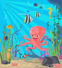Undersea world. Vector flat cartoon illustration