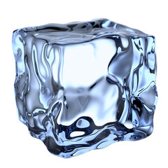 One blue clear ice cube