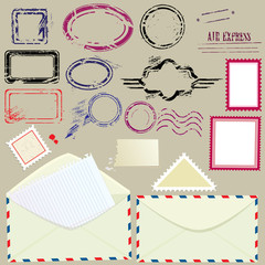 Collection of mail design elements - blank postmarks, stamps and