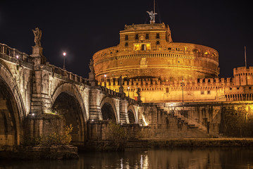 Wall Mural - Rome, Italy:  Castle of the Holy Angel at night