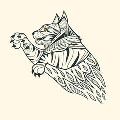 Cat tiger zentangle